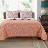 3 Piece Aqua Coral Orange White King Quilt Set, Floral Themed Reversible Bedding Colorful Cheery Boho Bohemian Chic Modern Botanical Garden Nature Flower Beautiful, Cotton, Microfiber, Polyester
