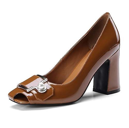 Zapatos de Tacón Alto para Mujeres Sujetadores de Metal Huecos de Perlas Zapatos de Punta Cuadrada