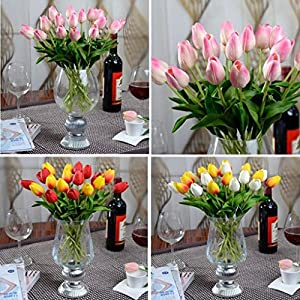 Esharing Artificial Silk Fake Flowers Single Stem PU Touched Tulip Arrangement Bouquet with Glorious Moral for Home Office Wedding Parties,Pack of 10 (blue) 4