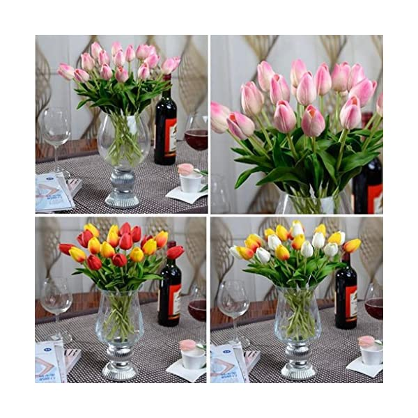 Esharing-Artificial-Silk-Fake-Flowers-Single-Stem-PU-Touched-Tulip-Arrangement-Bouquet-with-Glorious-Moral-for-Home-Office-Wedding-PartiesPack-of-10-blue
