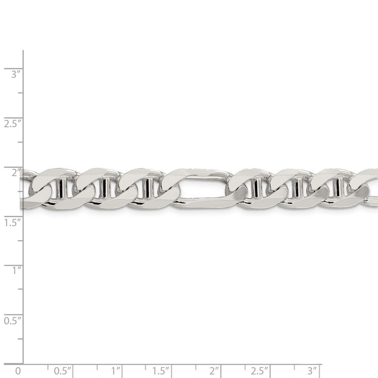 Lex /& Lu Sterling Silver 10.65mm Figaro Anchor Chain Bracelet or Necklace