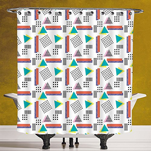 Funky Shower Curtain 3.0 by SCOCICI [ 90s,Memphis Style Geometrical Illustration with Dots Barcode Triangle Shapes Retro Art,Coral Black ] Digital Printing Polyester Antique Theme with Adjustable - New Style Selena Gomez