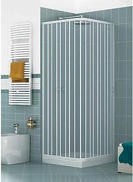 Cabina de ducha de esquina con paredes de fuelle reducibles, dos ...