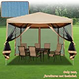 Strong Camel Easy Pop Up Canopy Tent 10-Feet x 10-Feet Gazebo with Mesh Side Walls Screen House (Beige)