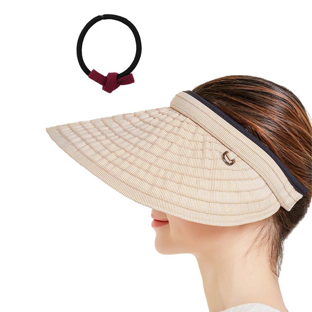 Brown BIZAR Hairpin Hat Foldable Wide Brim Floppy Sun Predection Visor Hat for Women Girls