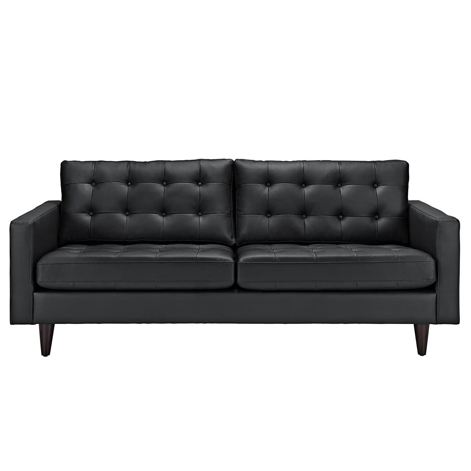 amazoncom modway empress midcentury modern upholstered leather sofa inblack kitchen  dining. amazoncom modway empress midcentury modern upholstered leather