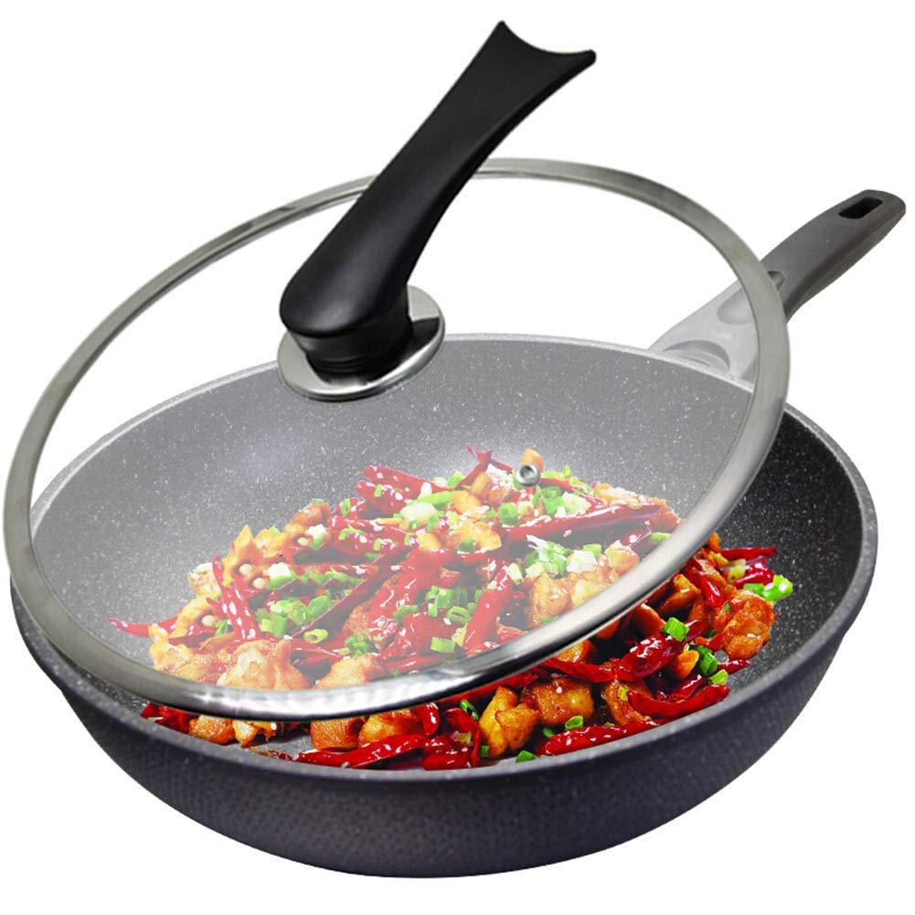 マイファンストーン32CMの家庭用ガラス強化ガス誘導炊飯器一般的なキッチン JNRONG (Color : Black, Size : 32cm in diameter) 32cm in diameter Black B07SLMNC9Q
