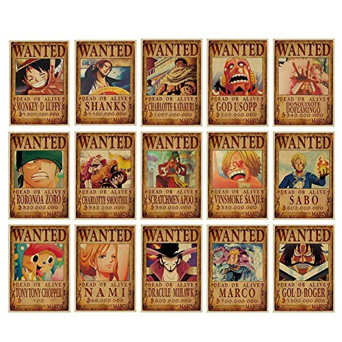 Raleighsee 69 Pcs Anime One Piece Newest Reward Command Series Retro Kraft Paper Poster Character Decoration Painting Poster Hot Gift for Anime Fans(Random Style)