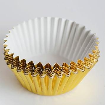 bestomz 200pcs escalonado (papel de aluminio vasos mini moldes para cupcakes para tartas magdalenas moldes para hornear (luz Golden): Amazon.es: Hogar