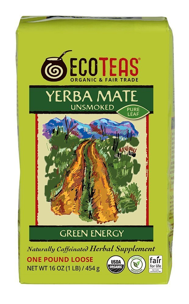 ECOTEAS Organic Yerba Mate Pure Loose Leaf 1 Pound (Pack of 3) by ECOTEAS