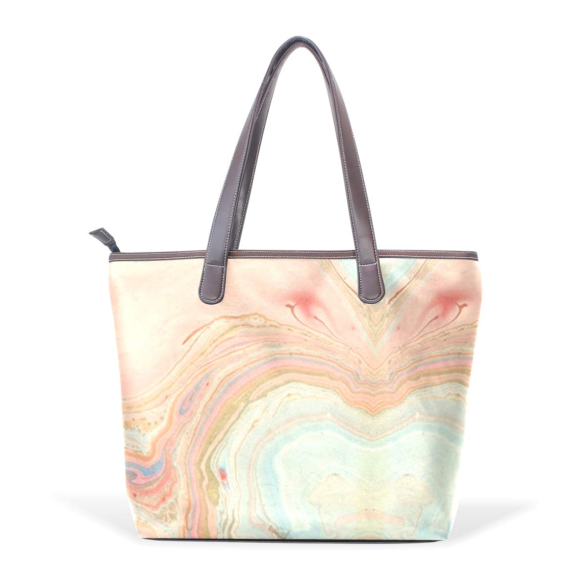 Peach Marble SwirlWomens Vintage Leather Tote Urban Style Satchel Tote