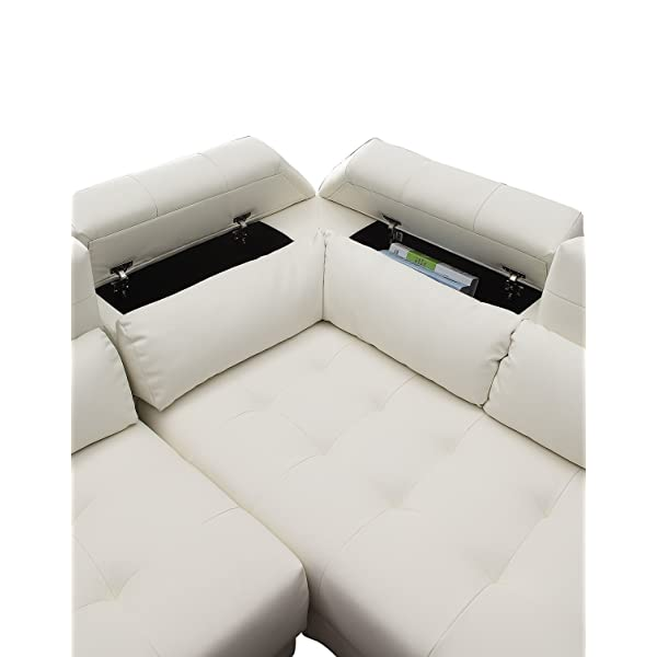 Poundex Bobkona Jolie Bonded Leather 3Piece SECTIONAL Set with Extra Large Ottoman in White