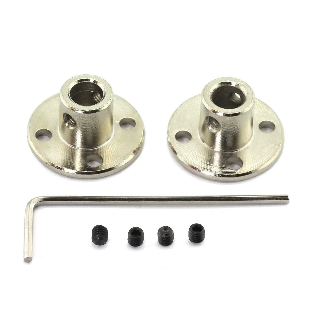 HJ Garden 2pcs 6mm Flange Shaft Coupling High Hardness Metal Flanged Joint Guide Shaft Support Coupler for DIY Model Shaft Connection