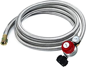 Adjustable Propane Regulator 0-30PSI High Pressure 5 FEET SS Braided Hose-Type1 (QCC1) and 3/8 Female Flare Swivel Fitting - with Gauge for Forge/Foundry, Food Truck, Fryer, Grill, Smoke