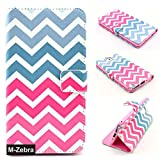 Note 3 Case, Note 3 Wallet Case, M-Zebra Note 3 Wallet Case [Wallet Function] Flip Cover Leather Case for Samsung Galaxy Note 3, with Screen Protectors+Stylus (Wave Hot Pink)