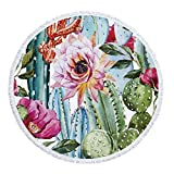 Utopone Beach Towels Round Cactus Microfiber Circle Beach Blanket with Tassels Water Absorbent, Large Soft Throw Beach Towel Blanket for Adults Girls Kids(59 Inch)