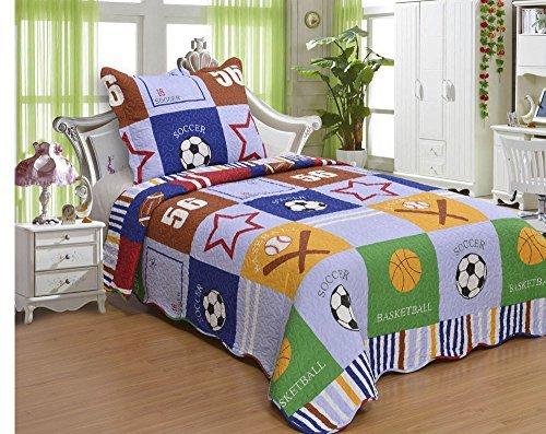FT Home Fashion Kids Boys Sports Theme Patchwork Print Twin Size Quilt Set, 2 Pieces
