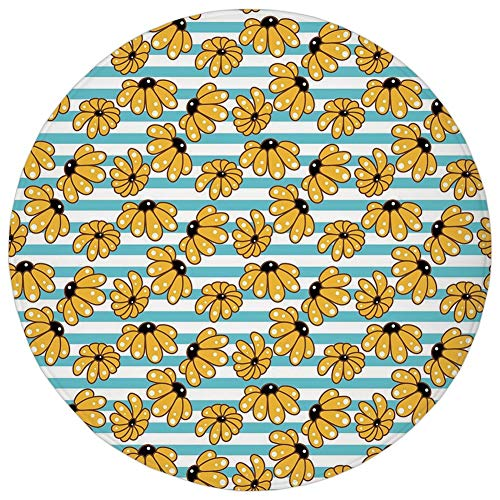 Round Rug Mat Carpet,Yellow and Blue,Cartoon Style Chamomile Daisy Blooms on Striped Backdrop,Sky Blue Earth Yellow Black,Flannel Microfiber Non-Slip Soft Absorbent,for Kitchen Floor Bathroom ()