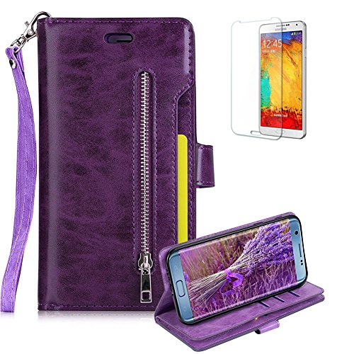 Galaxy A5 (2017) Case [with Free Screen Protector], Funyye Multifunction PU Leather Wallet Phone Cover Premium Genuine Magnetic Buttons Zipper Wallet Double Sided Card Slot Skin Practical Business Style Protective Skin for Samsung Galaxy A5 (2017)/A520 - Purple