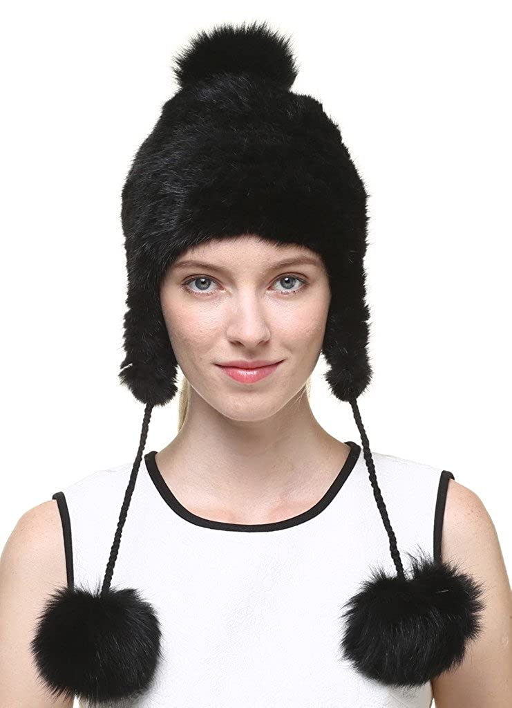 vogueearth Women'Real Knitted Mink Fox Fur Winter Warmer Hat A80338AH-Black
