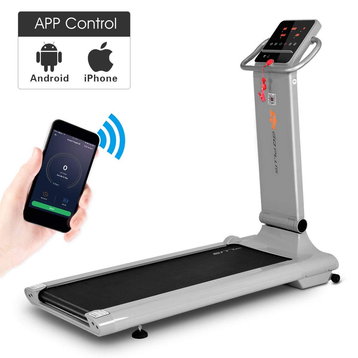 Goplus 1.5HP Electric Folding Treadmill Portable Motorized Running Machine Home Gym Cardio Fitness w/App (Silver)