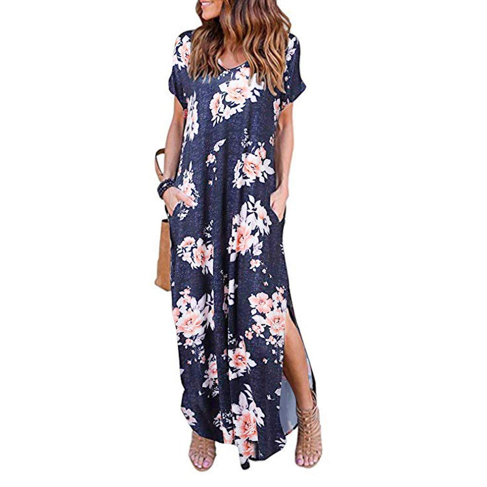 JESPER Women's Printed Casual Pocket Beach Long Dress Short Sleeve Loose Maxi Dresses Navy Blue