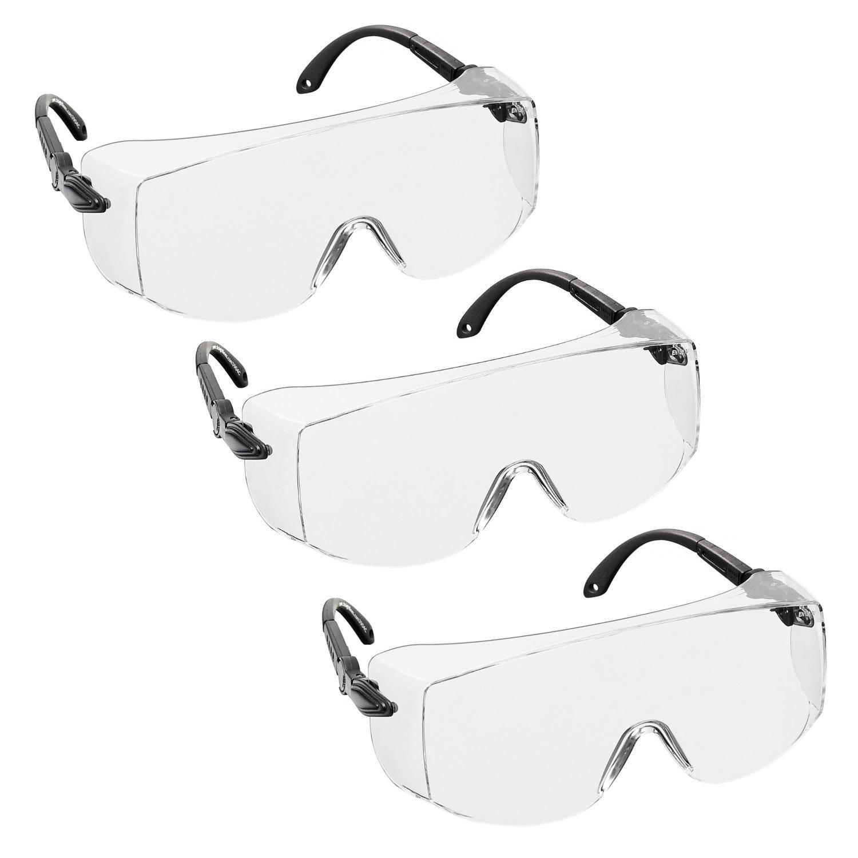 voltX 'OVERSPECS' Surlunettes de sécurité industrielle Overspecs, certifiées CE EN166F (à verres transparents) - branches réglables individuellement - anticondensation, résistantes aux rayures, et protég&eac
