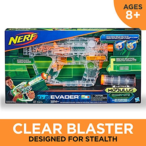Evader Modulus Nerf Motorized Light-Up Toy Blaster Includes 12 Official Nerf Darts, 12-Dart Clip, Light-Up Barrel Extension, Multicolor