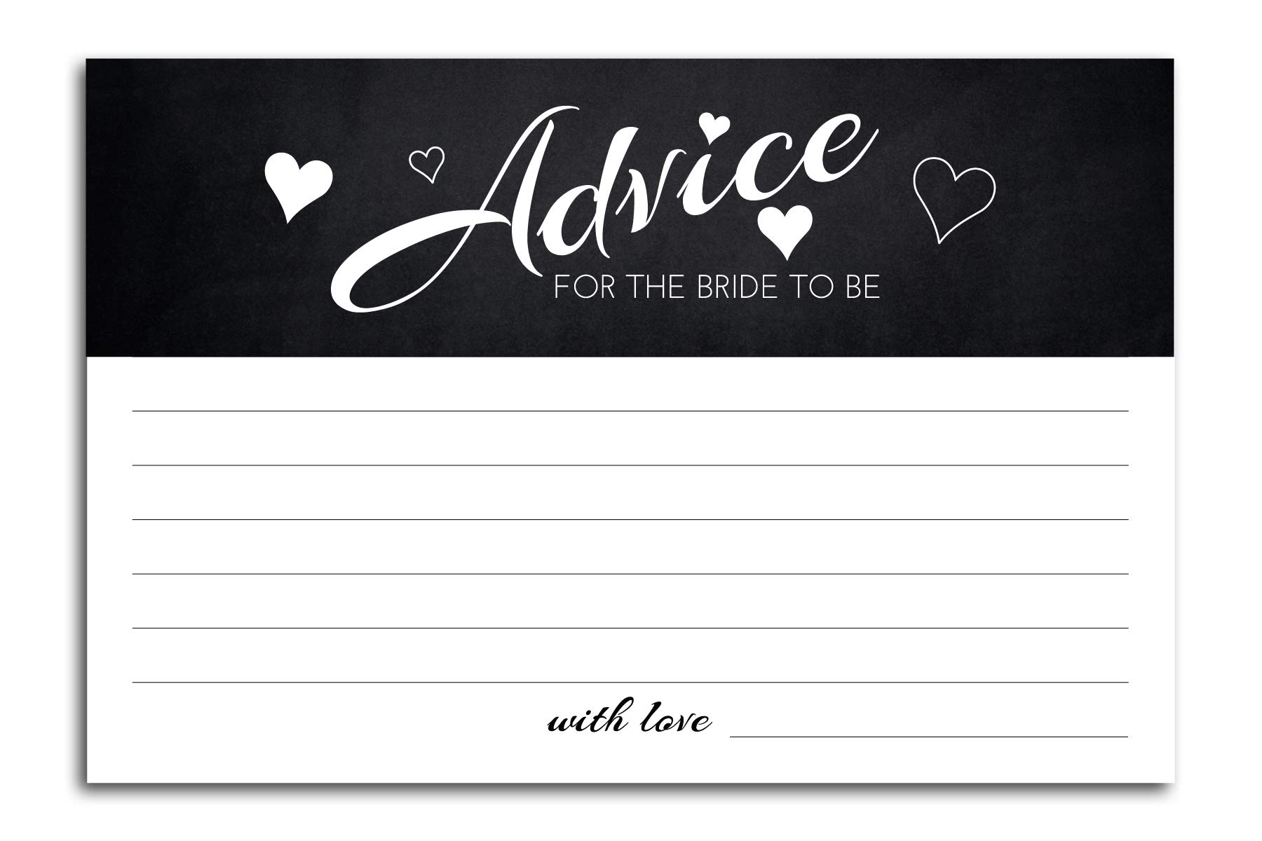 Home Advantage - (50 Pack) 4x6 Advice and Wishes for The Bride to Be (Black)