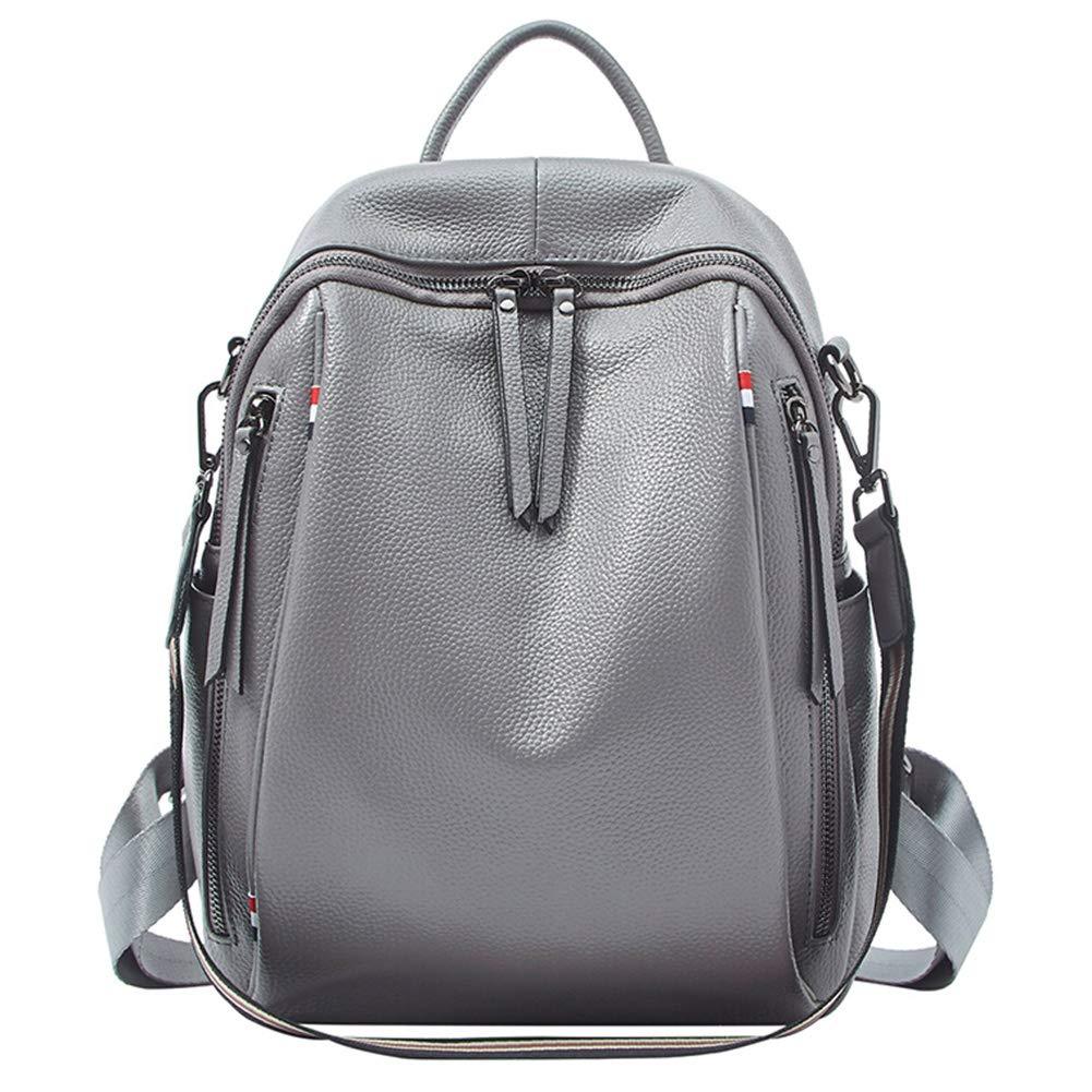 バックパックレジャーバッグ旅行バッグショルダーバッグ、牛革ファッショントレンドの第一層のコントラストカラー大容量多機能旅行、5色オプション CONGMING B07JWH63QN グレー 24*10*32cm