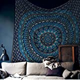 Amazon Price History for:Popular Handicrafts Hippie Mandala Bohemian Psychedelic Intricate Floral Design Indian Bedspread Magical Thinking Tapestry 84x90 Inches,(215x230cms) Blue