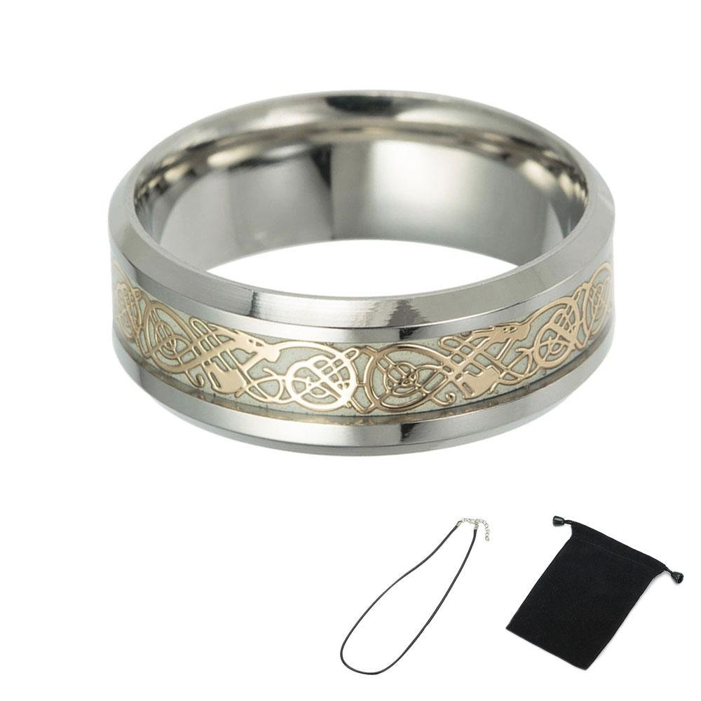 KOBWA Anillos de dragón celta dorado de titanio luminoso brillante anillo de boda joyas regalos para hombres y mujeres