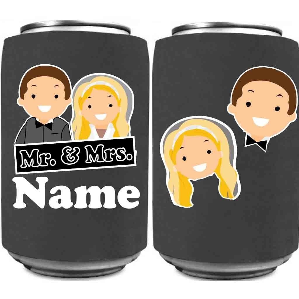 Custom Wedding Can Cooler- Mr. and Mrs. Can Coolers Design #2 (150) by VictoryStore