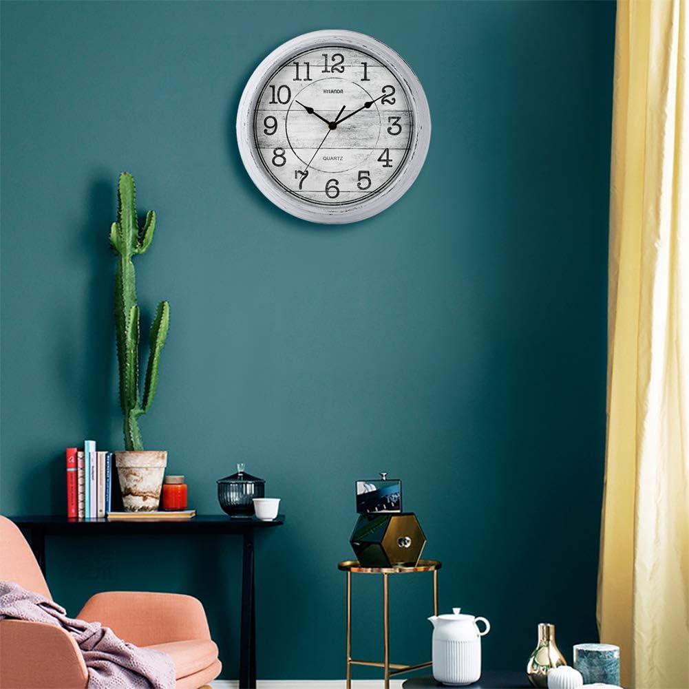 12 Inch Vintage Retro Wall Clocks Battery Operated Decorative Easy to Read Kitchen Home Living Room Office Bathroom Aqua HYLANDA Wall Clock Silent Non Ticking