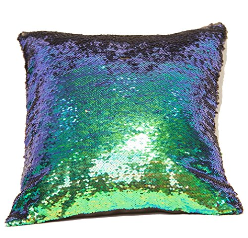 handrong Premium Sequins Throw Pillow Cover Reversible Mermaid Pillowcase DIY Paillette Square Cushion Covers for Home Holiday Sofa Decorations 16 x 16 inch (Malachite Green and Black)