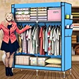 Amanda Home Portable Closet Wardrobe Fabric Clothes Storage Organizer (68.8 x 43.3 x 17.7in) (Blue)