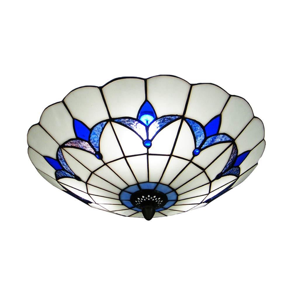 BAYCHEER HL298682 Tiffany Style Ceiling Fixture Flush Mount Ceiling Light Mediterranean Glass Shade Lamp Semi Flush Mount Light use 3 E26 Light Bulbs Blue and White