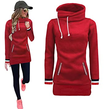 e463c2a1336 Kintaz Women s High Neck Collar Fleece Pullover Long Loose Fit Tunic Hoodies  Sweatshirts Dress Sweater Coat