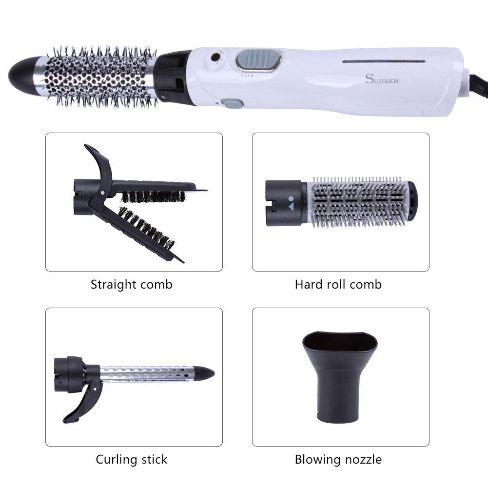 357cd6150e2bdb SURKER Seche Cheveux Brosse Soufflante 5 en 1 Brosse Sechante Brosse  Lissante Chauffante pour Cheveux Ionique Température Réglable Fer à friser  Professional ...