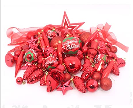 red cherry electroplate ballssnowmanicicle christmas tree decorations set red - Amazon Christmas Tree Decorations