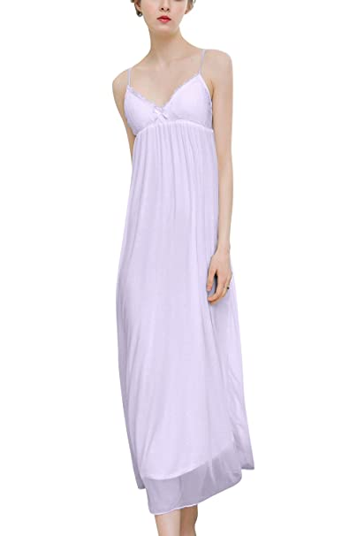 Dolamen Largo Camisón para Mujer, 2018 Mujer Camisones Pijamas, Modal Lindo Lindo Suave Transpirable Largo Cordón Nightdress Correa de Espagueti Babydoll: ...