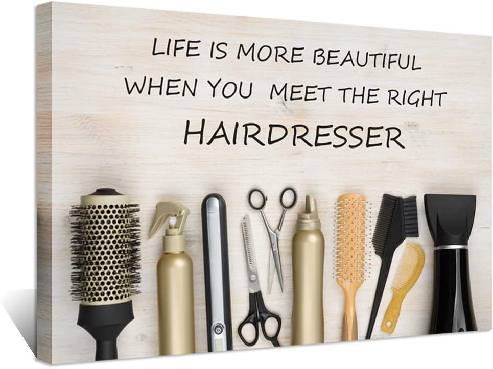 Hello Artwork Large Hair Salon Inspirational Quotes Canvas Wall Decor Life is More Beautiful Meet Right Hairdresser Hairdressing Tools on Wooden Background Vintage Style Artwork for Barber Shop Decor