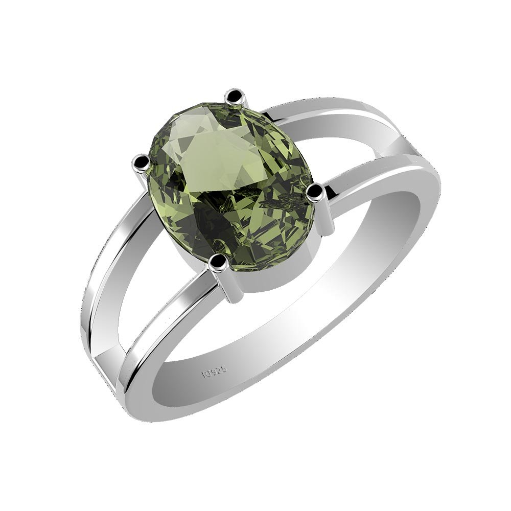 2.15ctw,Genuine Moldavite 7x9mm Oval & Solid .925 Sterling Silver Ring (Size-7)
