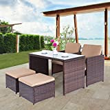 Cloud Mountain Outdoor 5 Piece Rattan Wicker Furniture Bar Set Dining Set Cushioned Patio Furniture Set Space Saving - 1 Patio Dining Table & 4 Conversation Bistro Set, Brown