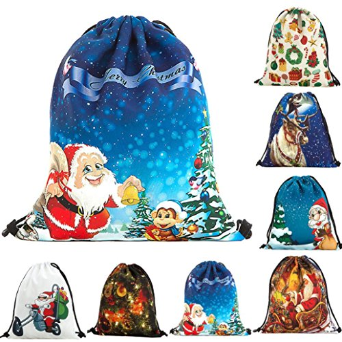 Igemy Christmas Süßigkeiten Geschenk Tasche Bundle Pocket Santa Claus Schneemann Bedruckte Taschen Rucksack