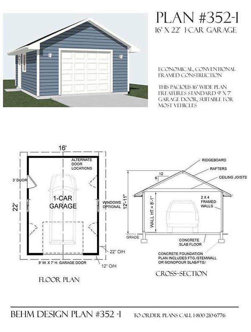 Garage Plans 1 Car Garage Plan 3521 16 x 22 one car – Basic Garage Plans