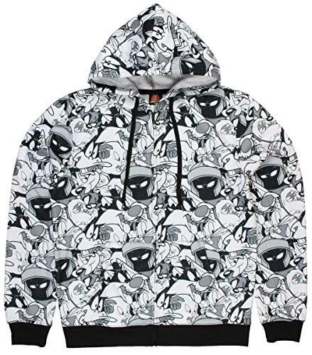 looney-tunes-gang-all-over-black-white-graphic-zipper-hoodie