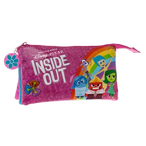 Disney Inside out Estuche Tres Compartimentos, Color Rosa, 1.32 litros