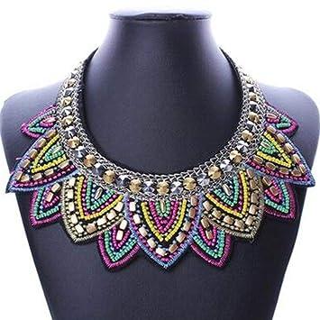 Elegant Women Crystal Pendant Jewelry Chunky Statement Choker Necklace Chain