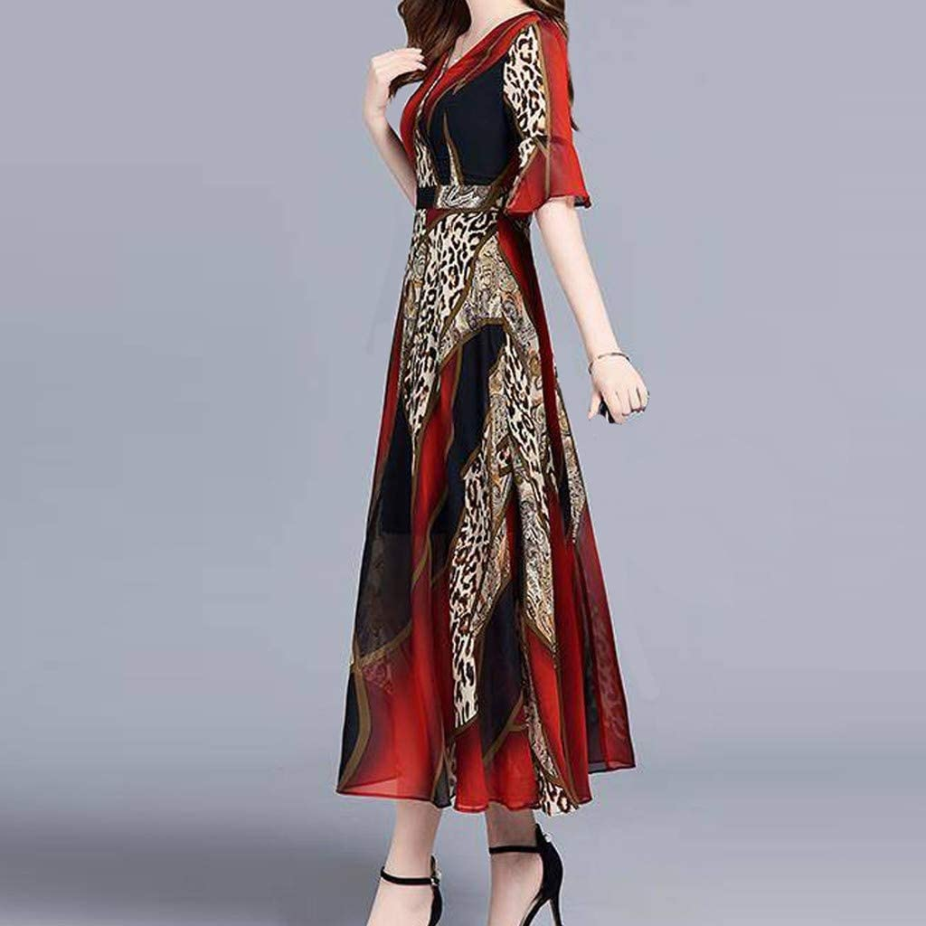 WENOVL Maxi Dresses for Women,Women Fashion Summer V-Neck Knee Length Short Sleeve Leopard Print Dress